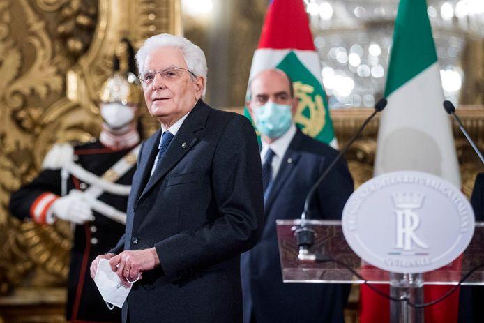 De Italiaanse president Sergio Mattarella