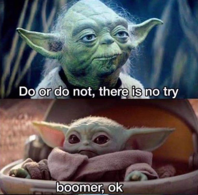 Baby Yoda-meme. Beeld -
