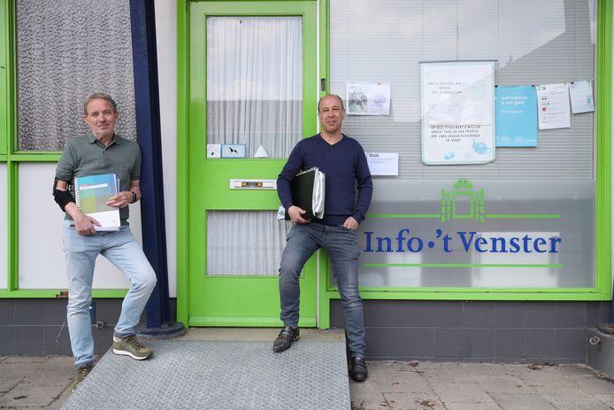 Wijkoverleg 't Ven is wakker geschud en komt in actie tegen de groei van zware industrie op bedrijventerrein De Hurk. Voorzitter Gerard van Bakel (links) en bestuurslid Paul Speckens