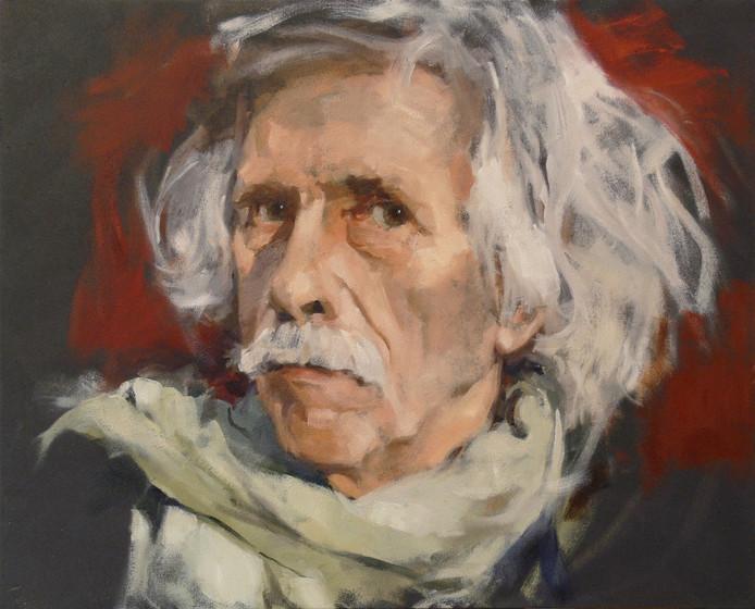 """Hans Ringnalda, hier geschilderd door Hans van Melic, werd op straat meer dan eens nageroepen: ,,Hé, Einstein!"""""""