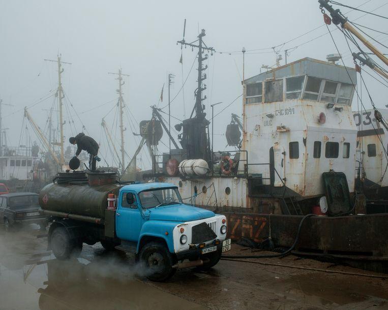 De haven van Berdjansk raakt steeds verder geïsoleerd. Beeld Emile Ducke