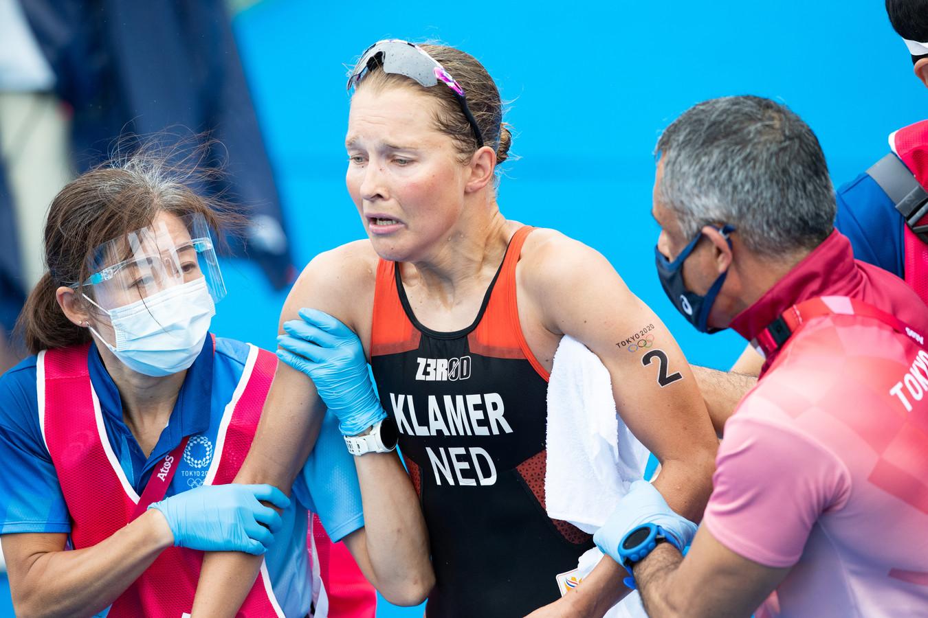Rachel Klamer vlak na de finish.