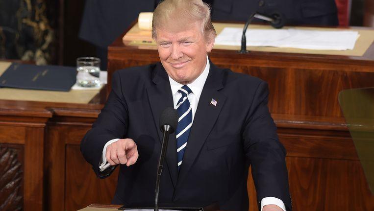 Donald Trump tijdens zijn eerste toespraak voor het Congres. Beeld AFP