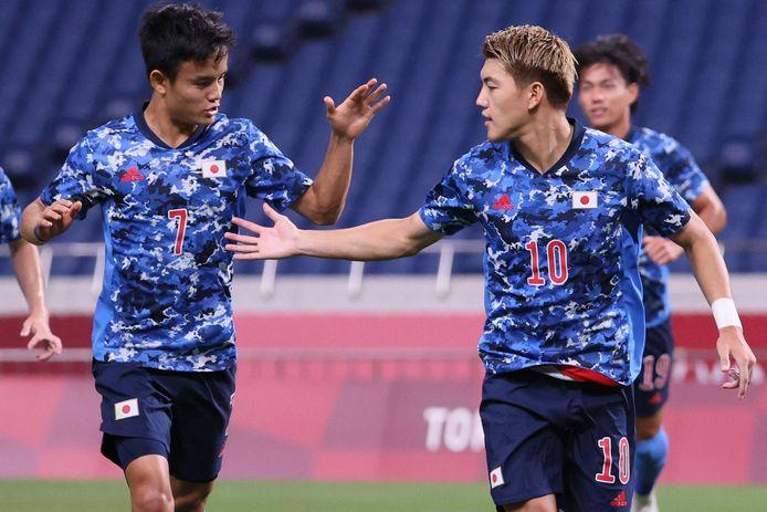 Ritsu Doan viert zijn goal.