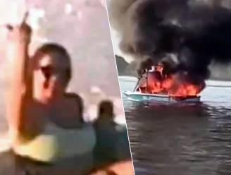 Trio valt bootje met regenboogvlag lastig, waarna hun motor ontploft en ze naar hun doelwit moeten zwemmen