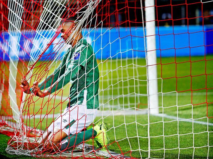 Sparta-PSV seizoen 2019/2020 Cody Gapko belandt in het net nadat hij de bal voor de goal gemis heeft Foto ; Pim Ras