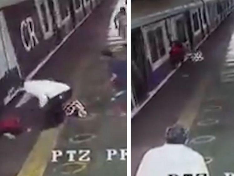 Meisje valt van trein, maar wordt net op tijd gered door aandachtige omstaanders