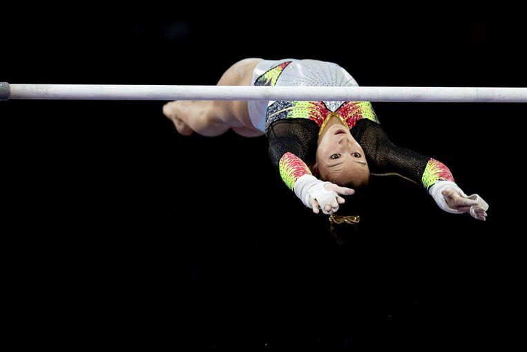 Nina Derwael zweeft naar een nieuwe gouden medaille. Beeld Photo News