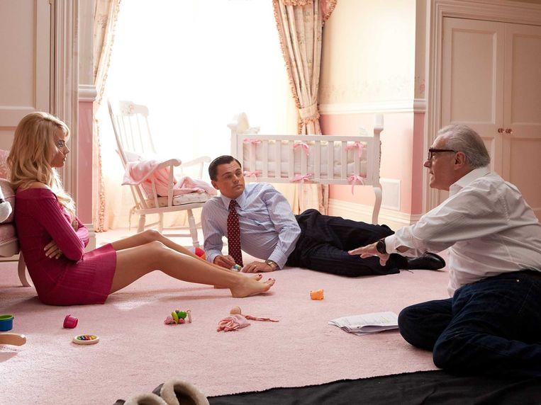 Op de set van 'The Wolf of Wall Street' (2013), met DiCaprio en Margot Robbie. Beeld kos