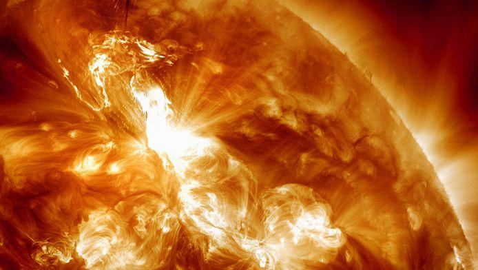 De uitbarsting op de zon was de zwaarste sinds 13 mei 2005.