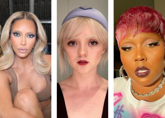 Kim Kardashian, Maisie Williams en Lizzo probeerden de trend van gebleachte wenkbrauwen al uit.