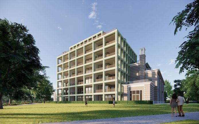 Impressie van het woningbouwplan voor het 50KV stroomstation aan de Oranjelaan 1 in Dordrecht.