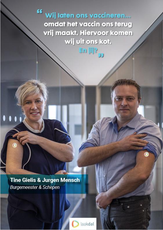 Burgemeester Tine Gielis en schepen van Gezondheid Jurgen Mensch verleenden ook hun medewerking aan de campagne.