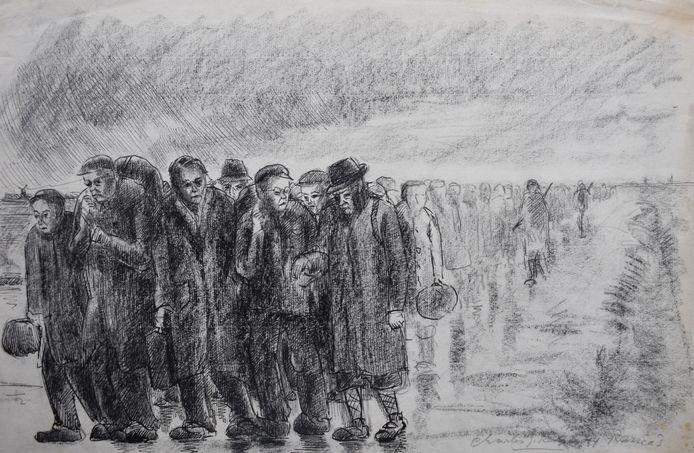 Razzia 1944, staat onder dit zwaarmoedige werk van Charles Kemper. De sombere, teneergeslagen blikken van de mannen verraden onheil. Duitse soldaten begeleiden de groep.