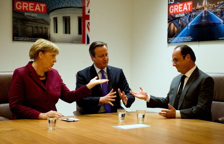 De leiders van de 'Grote Drie': Angela Merkel, David Cameron en Francois Hollande, in oktober 2015. Beeld epa