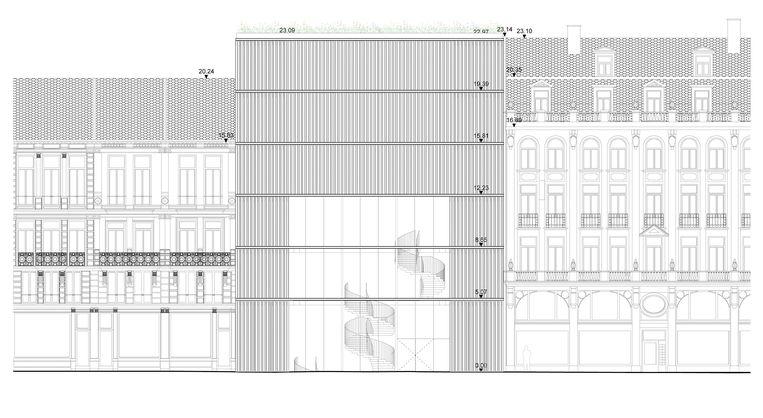 De goedgekeurde schets voor een nieuw toegangsgebouw aan Hopland.