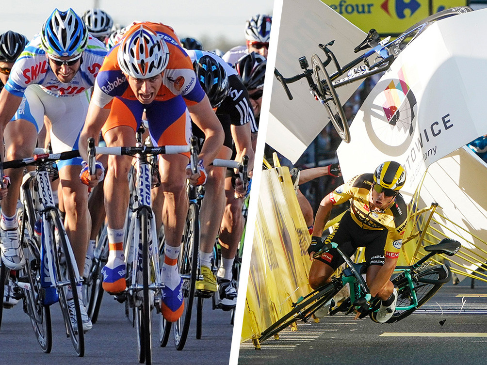 Theo Bos in actie voor Rabobank. Rechts de tuimelperte met Jakobsen en Groenewegen in de Ronde van Polen.