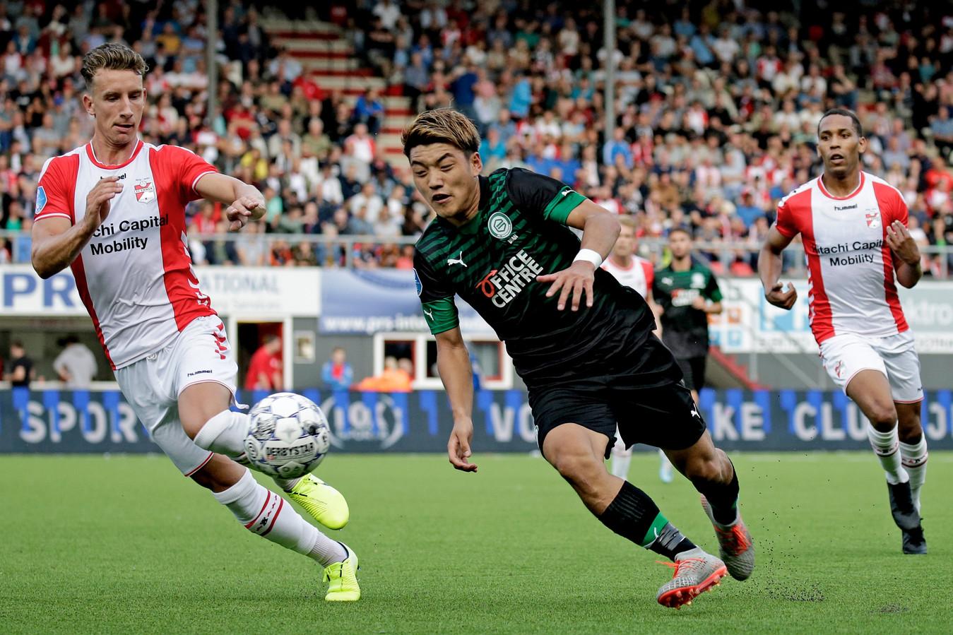 Ritsu Doan bij FC Emmen-FC Groningen.
