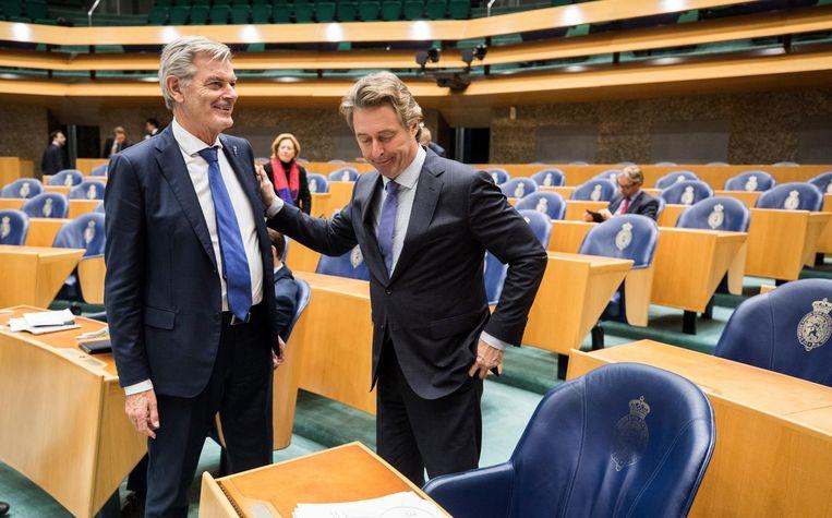 PVV-Kamerlid Edgar Mulder 50PLUS-Kamerlid Martin van Rooijen na afloop van het debat. Beeld anp
