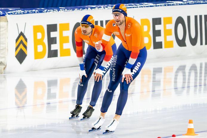 Thomas Krol (r) en Kai Verbij na de finish.