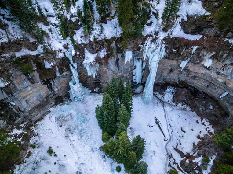 Aerial/Drone Image of the Vail Amphitheater.  This location is world famous for it's world-class ice climbing and scenic frozen waterfalls.  Vail, Colorado Rocky Mountains Beeld thinkstock