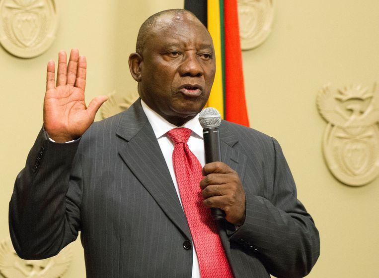 Cyril Ramaphosa legt de eed af als nieuwe president van Zuid-Afrika