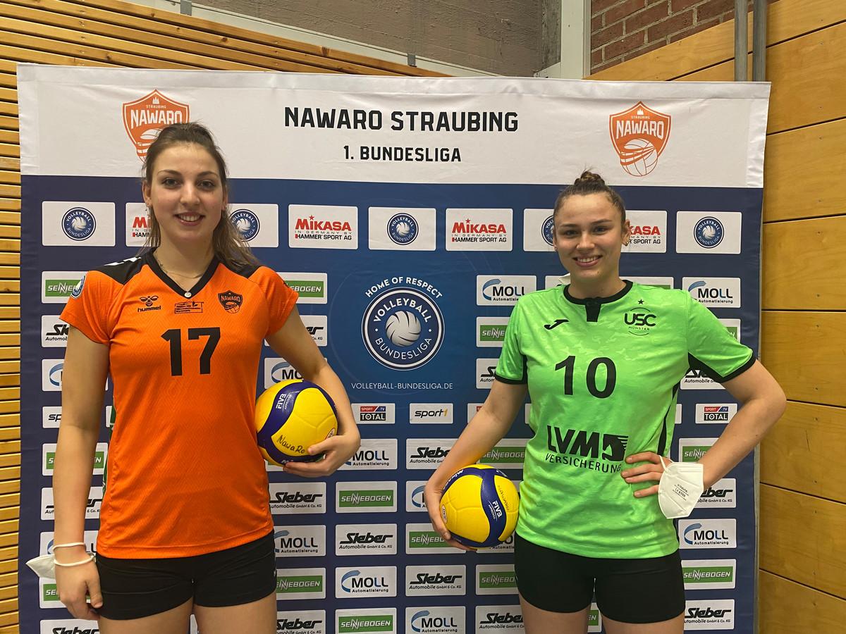 Iris Scholten (links) en Sarah van Aalen speelden afgelopen zondag tegen elkaar in de Bundesliga.