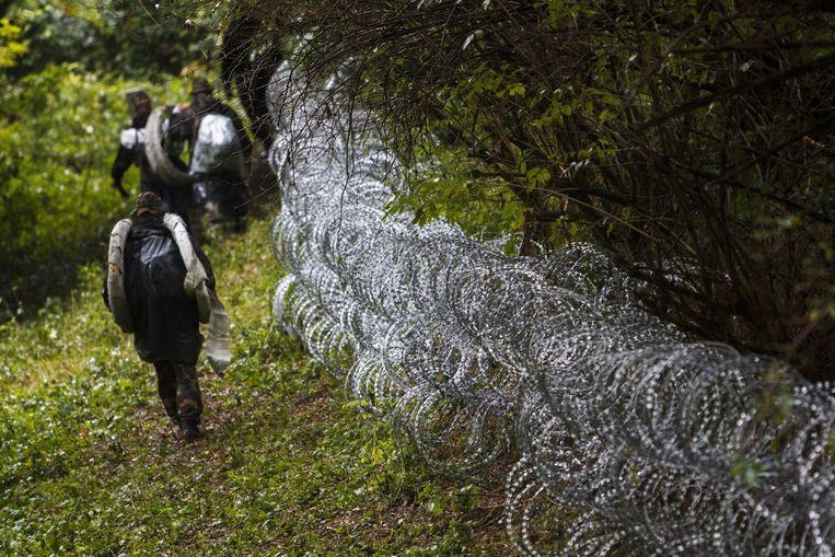 Hekken tussen Hongarije en Kroatië. Beeld EPA