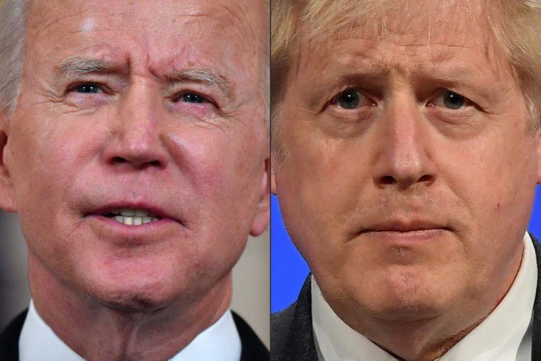 VS-president Joe Biden en Boris Johnson, de premier van Groot-Brittannië.  Beeld AFP