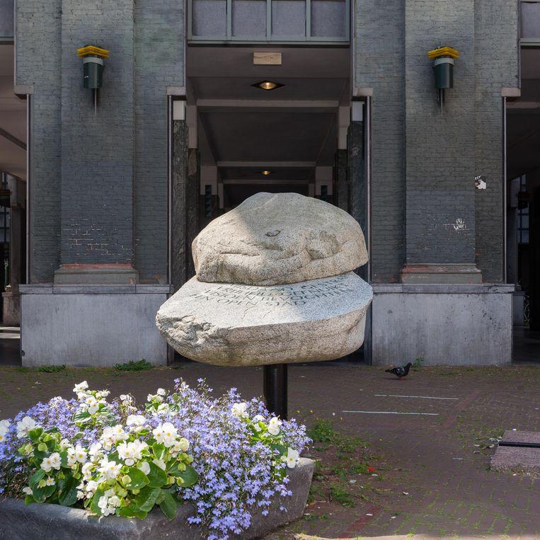 De gedenksteen voor het voormalig huis van bewaring van Pieter Zaanen. Beeld Nina Schollaardt