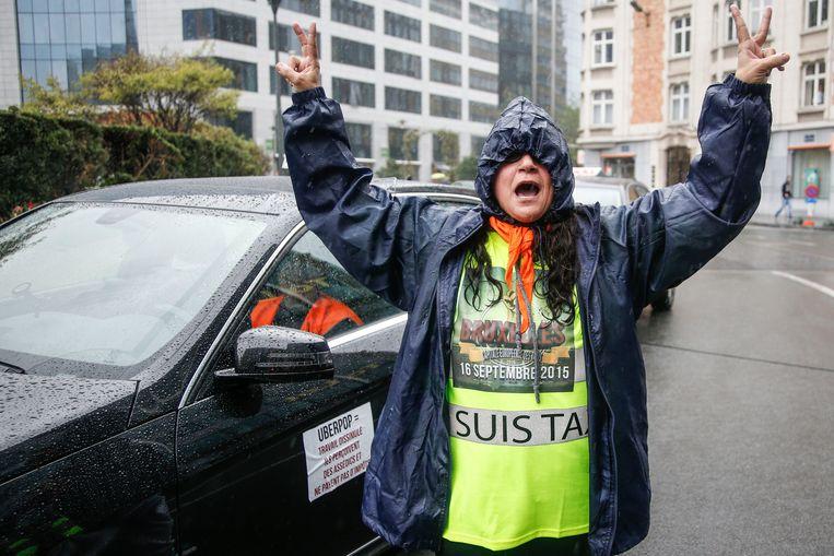 Het protest tegen Uber op 16 september. Beeld BELGA