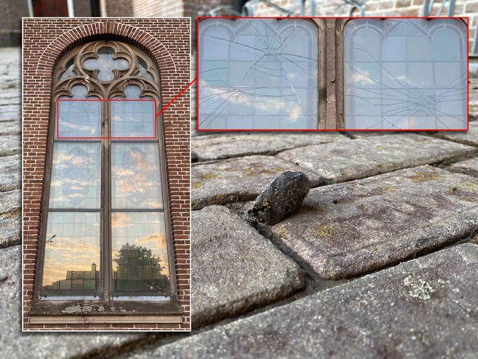 Vijf ramen van de Sint Martinuskerk in Bussloo zijn vernield door stenengooiers. De glas-in-loodramen bleven gespaard.