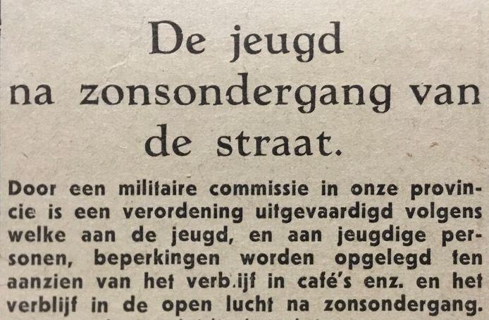 Aankondiging van een speciale avondklokverordening voor jongeren (januari 1945)