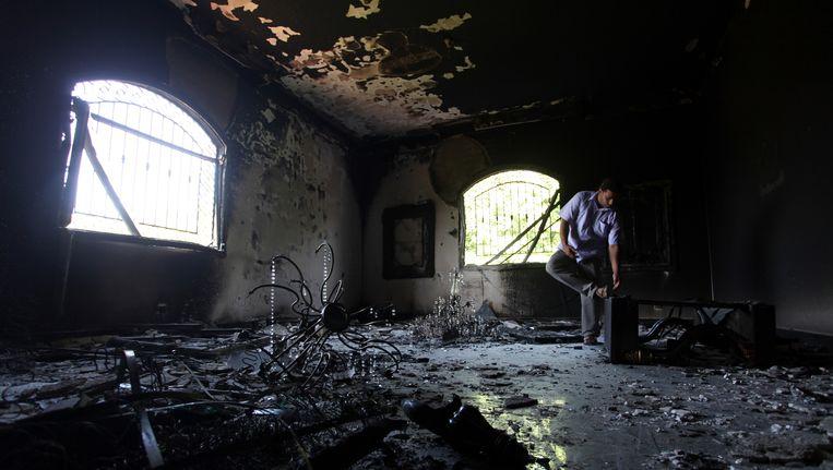Het interieur van het aangevallen Amerikaanse consulaat in Benghazi, twee dagen na de aanslag. Beeld AP