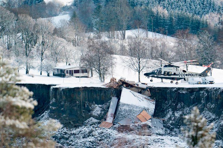 De plek van de aardverschuiving in Ask. Beeld AFP