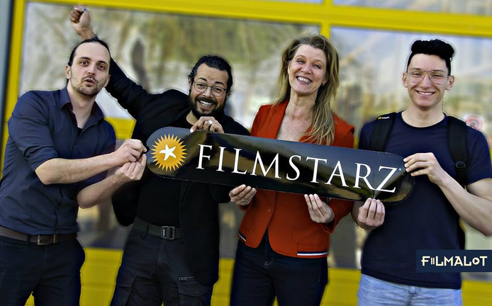 De finalisten van Filmstarz 2019: Jorge Lopes & Benjamin Samson, Michèle Soudijn en Levi Oreel.