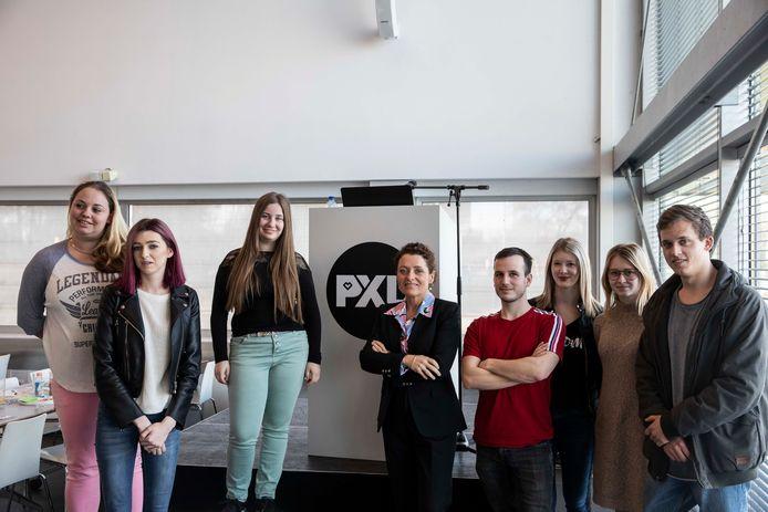 Vlaams minister Lydia Peeters gaf vandaag een  gastcollege aan PXL-studenten tijdens ondernemersweek.