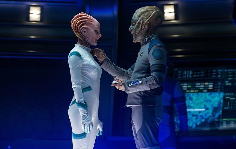 Na jaren aandringen kreeg Bezos een cameo als pratende alien in 'Star Trek Beyond'.  Beeld rv