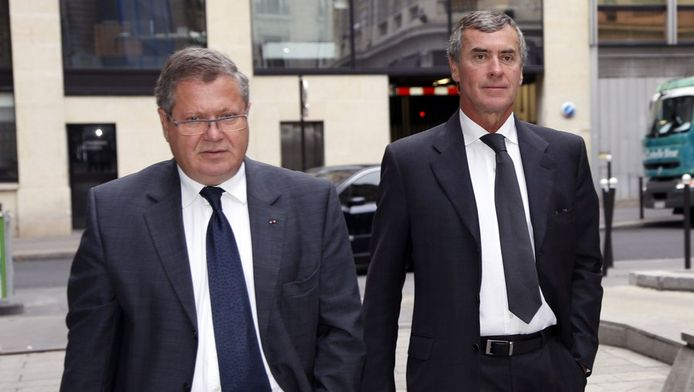 L'ex-ministre du Budget Jérôme Cahuzac (à droite, avec son avocat)
