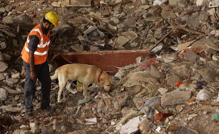 De reddingsdienst blijft zoeken naar overlevenden Beeld epa