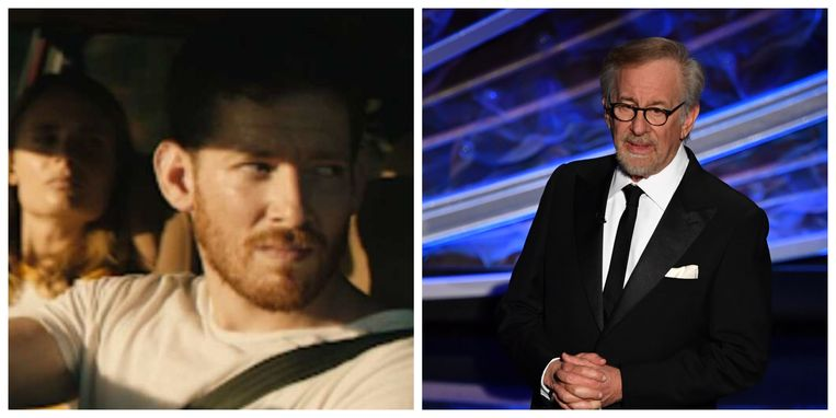 Sawyer Spielberg (27) in 'Honeydew' en papa Steven Spielberg (73).