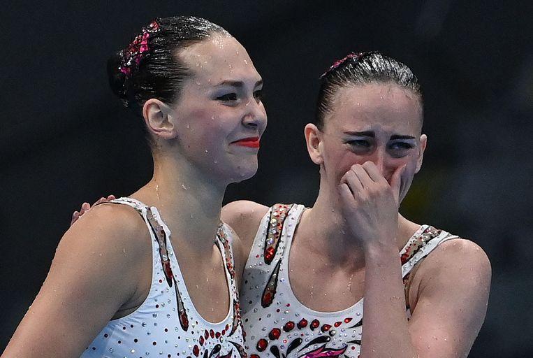 Emoties bij Marta Fiedina en Anastasiya Savchuk na het veiligstellen van hun bronzen plak. Beeld AFP