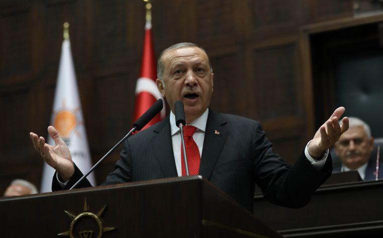 De Turkse president Tayyip Erdogan. Beeld AFP
