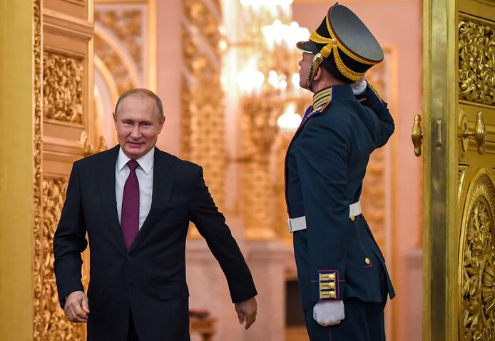 De Russische president Poetin in het Kremlin in Moskou.