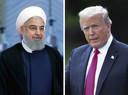 De Iraanse president Hassan Rouhani (links) en de Amerikaanse president Donald Trump.