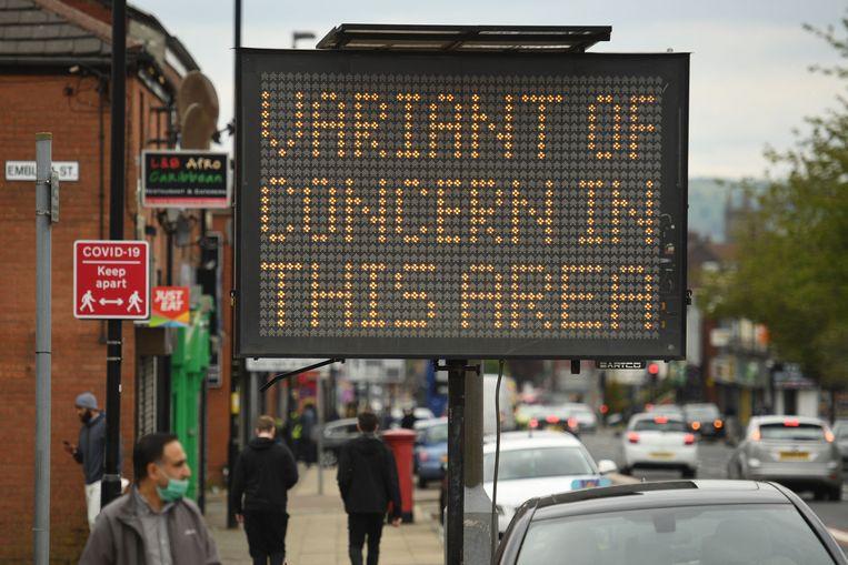 In de Britse stad Bolton wordt gewaarschuwd voor de verspreiding van de Indiase variant van het coronavirus.  Beeld AFP