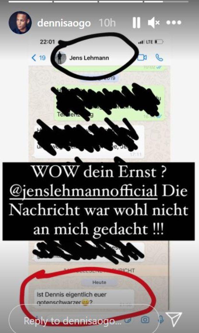 Het gewraakte bericht van Jens Lehmann.