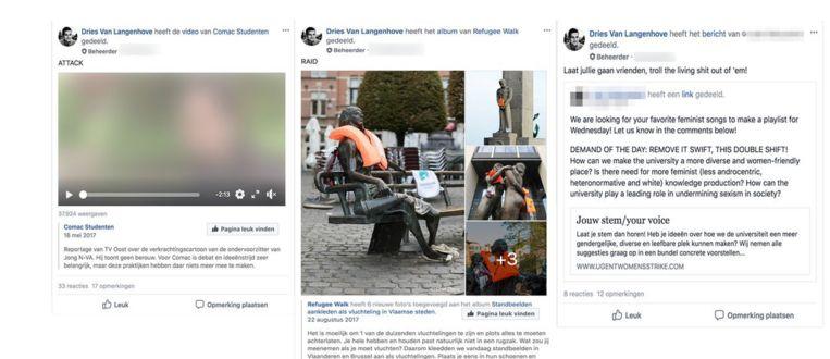 Van Langenhove roept de leden van de Facebook-groep van Schild & Vrienden online op tot