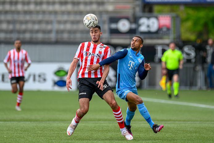ROTTERDAM, 13-05-2021, Het Kasteel, Dutch Eredivisie Football, Sparta - Utrecht, season 2020 / 2021,   Sparta player Reda Kharchouch and FC Utrecht player Tommy St. Jago during the match