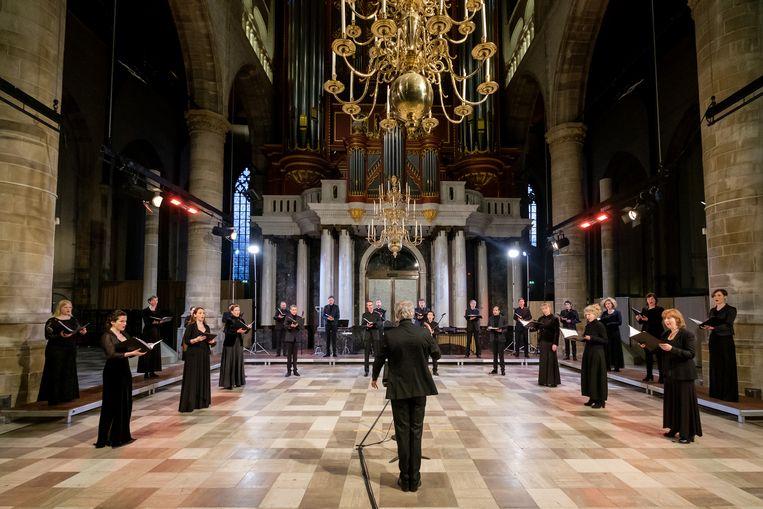 Het herdenkingsconcert van het Laurens Collegium, op 4 mei in Rotterdam. Beeld Jan Hordijk